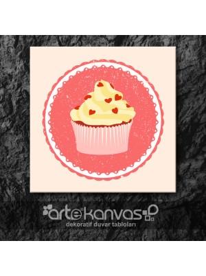 Cupcake Vintage Pembe Kanvas Tablo