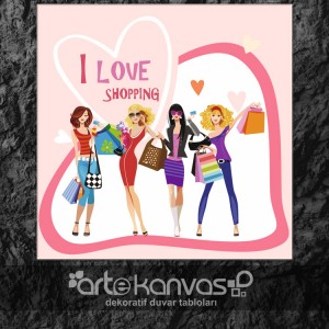 I Love Shopping Kanvas Tablo